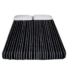 Stylish Silver Strips Fitted Sheet (queen Size) by gatterwe