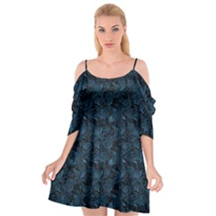 Blue Flower Glitter Look Cutout Spaghetti Strap Chiffon Dress by gatterwe