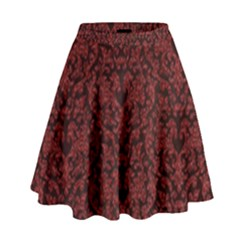 Red Glitter Look Floral High Waist Skirt by gatterwe