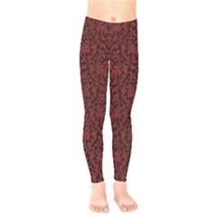 Red Glitter Look Floral Kids  Legging