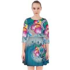 Blue Green Vector Designs Smock Dress