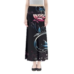 Color Pattern Plant Leaves Dark Background  Full Length Maxi Skirt by amphoto