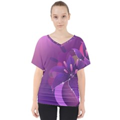 Flowers Lily Lilac Shine  V Neck Dolman Drape Top