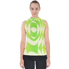 Green Shapes Canvas                              Mock Neck Shell Top