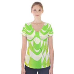 Green Shapes Canvas                                 Short Sleeve Front Detail Top