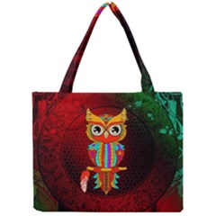 Cute Owl, Mandala Design Mini Tote Bag by FantasyWorld7