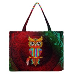 Cute Owl, Mandala Design Zipper Medium Tote Bag