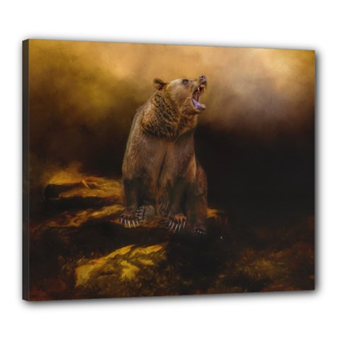 Roaring Grizzly Bear Canvas 24  X 20  by gatterwe