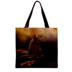 Roaring Grizzly Bear Grocery Tote Bag by gatterwe