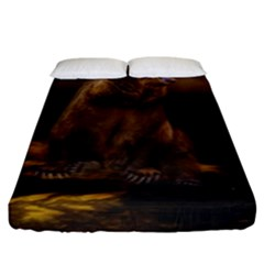 Roaring Grizzly Bear Fitted Sheet (king Size) by gatterwe