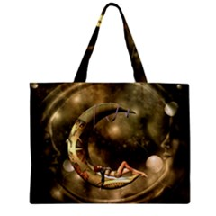 Steampunk Lady  In The Night With Moons Zipper Mini Tote Bag by FantasyWorld7