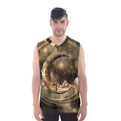 Steampunk Lady  In The Night With Moons Men s Basketball Tank Top by FantasyWorld7