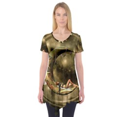 Steampunk Lady  In The Night With Moons Short Sleeve Tunic  by FantasyWorld7
