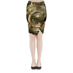 Steampunk Lady  In The Night With Moons Midi Wrap Pencil Skirt by FantasyWorld7