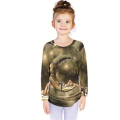 Steampunk Lady  In The Night With Moons Kids  Long Sleeve Tee by FantasyWorld7