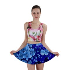 Floral Design, Cherry Blossom Blue Colors Mini Skirt by FantasyWorld7