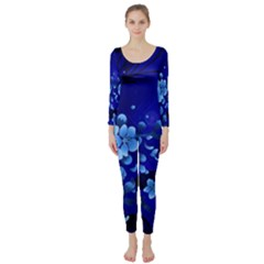 Floral Design, Cherry Blossom Blue Colors Long Sleeve Catsuit by FantasyWorld7