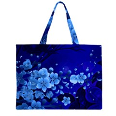 Floral Design, Cherry Blossom Blue Colors Zipper Large Tote Bag by FantasyWorld7