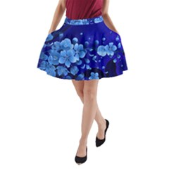Floral Design, Cherry Blossom Blue Colors A Line Pocket Skirt by FantasyWorld7