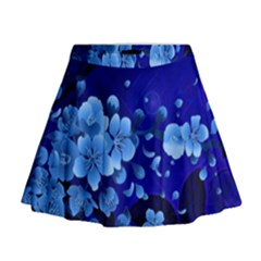 Floral Design, Cherry Blossom Blue Colors Mini Flare Skirt by FantasyWorld7