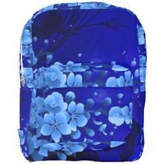Floral Design, Cherry Blossom Blue Colors Full Print Backpack by FantasyWorld7
