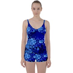 Floral Design, Cherry Blossom Blue Colors Tie Front Two Piece Tankini by FantasyWorld7
