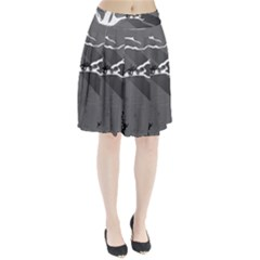 Tree Ornaments Black White Gray Pleated Skirt