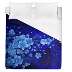 Floral Design, Cherry Blossom Blue Colors Duvet Cover (queen Size) by FantasyWorld7