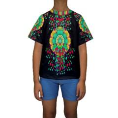 Rain Meets Sun In Soul And Mind Kids  Short Sleeve Swimwear by pepitasart