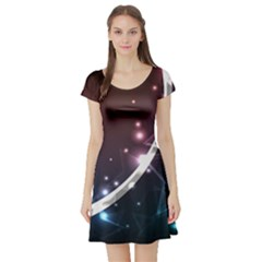 Lines Rays Glare Star Light Shadow  Short Sleeve Skater Dress by amphoto