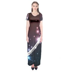 Lines Rays Glare Star Light Shadow  Short Sleeve Maxi Dress by amphoto