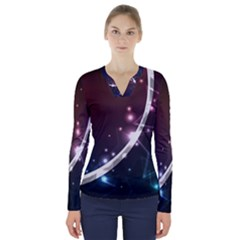 Lines Rays Glare Star Light Shadow  V Neck Long Sleeve Top by amphoto
