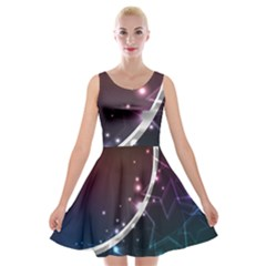 Lines Rays Glare Star Light Shadow  Velvet Skater Dress by amphoto