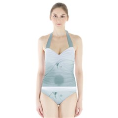 Gray Points Curves Patches Vector Minimalism  Halter Swimsuit by amphoto