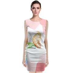 Flower Butterfly Dots Abstract Vector  Classic Sleeveless Midi Dress by amphoto