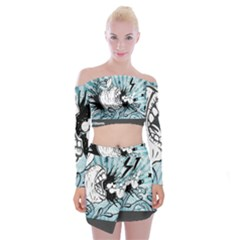 App Storm Apple Mac Devouring Vector Blue White  Off Shoulder Top With Skirt Set