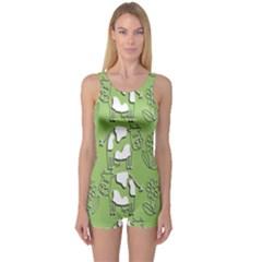 Cow Flower Pattern Wallpaper One Piece Boyleg Swimsuit