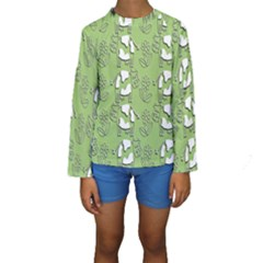 Cow Flower Pattern Wallpaper Kids  Long Sleeve Swimwear by Nexatart
