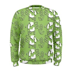Cow Flower Pattern Wallpaper Men s Sweatshirt