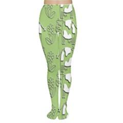 Cow Flower Pattern Wallpaper Women s Tights