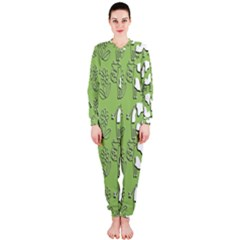 Cow Flower Pattern Wallpaper Onepiece Jumpsuit (ladies)
