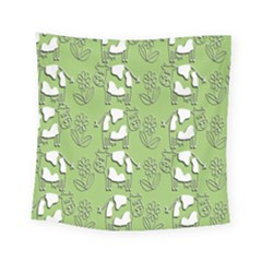 Cow Flower Pattern Wallpaper Square Tapestry (small)