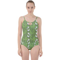 Cow Flower Pattern Wallpaper Cut Out Top Tankini Set
