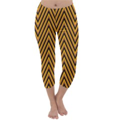 Chevron Brown Retro Vintage Capri Winter Leggings