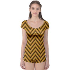 Chevron Brown Retro Vintage Boyleg Leotard