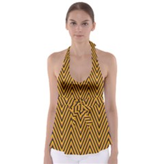 Chevron Brown Retro Vintage Babydoll Tankini Top