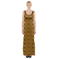 Chevron Brown Retro Vintage Maxi Thigh Split Dress