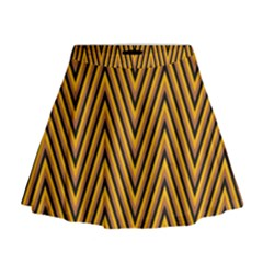 Chevron Brown Retro Vintage Mini Flare Skirt
