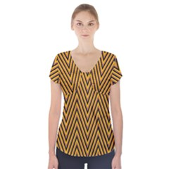Chevron Brown Retro Vintage Short Sleeve Front Detail Top