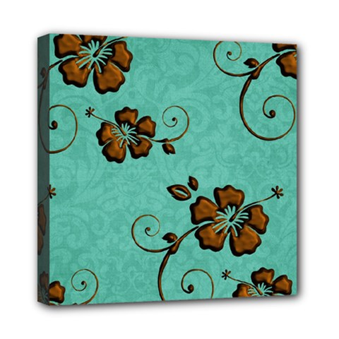 Chocolate Background Floral Pattern Mini Canvas 8  X 8
